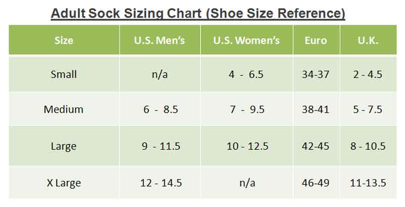 Sock Size Like Shoe Sizes